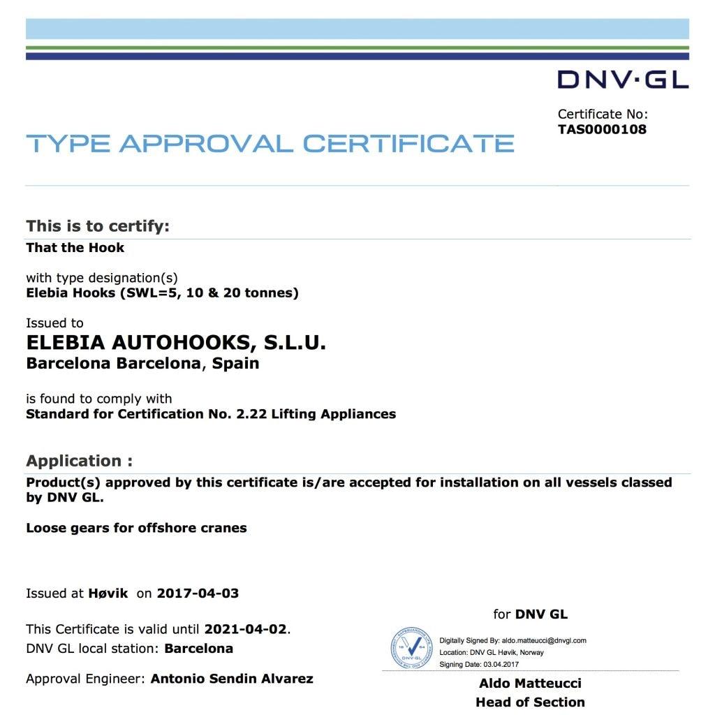 elebia DNV 2.22 certification